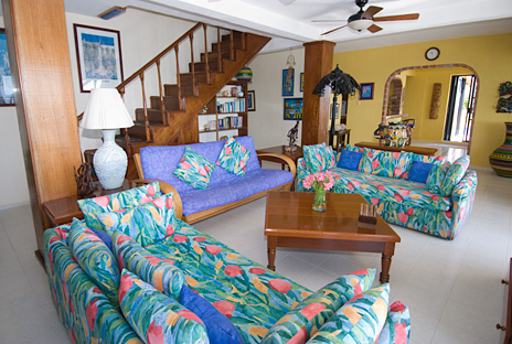 second floor living room at casa caribena vacation rental villa