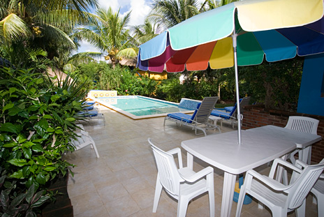 poolside patio area at Csa Caribena vacation rental villa on Tankah Bay, Riviera Maya