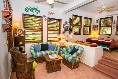 Guesthouse mainfloor living area at Tropical Evergreens vacation rental home on Soliman Bay
