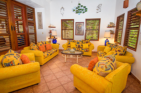 Living room in the mainhouse at Tropical Evergreens, a Soliman Bay vacation beach rental property