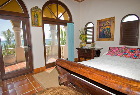 Second oceanfront bedroom in  Hacienda Kass  luxury vacation home  on the Riviera Maya south of Akumal