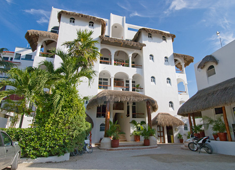 Front of Playa Caribe Akumal Vacation Rental Condos on Half Moon Bay