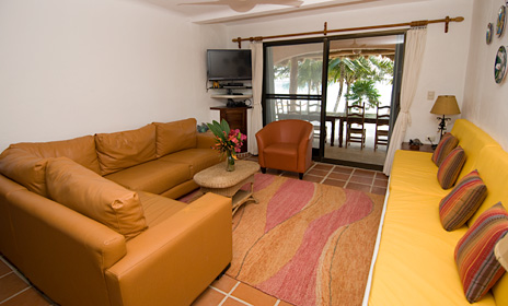 Another view of the living room of Casa Rosa vacation rental villa on Tankah Bay south of Akumal Mexico