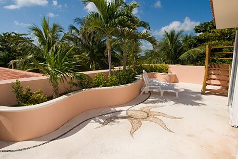 Another patio area on the second floor at Casa rosa vacation rental villa on Tankah Bay