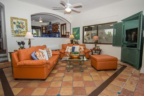 Living room at Casa San Francisco vacation rental villa in South Akumal