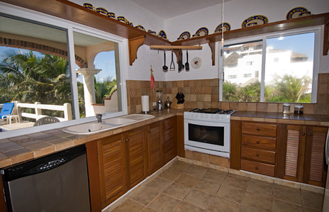 Kitchen at Twin Palms Akumal vacation rental villa