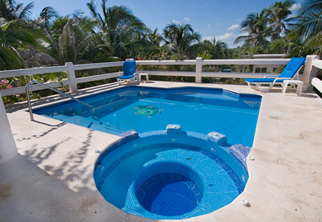 Swimming pool has a jacuzzi type seating area at Twin Palms vacation rental home