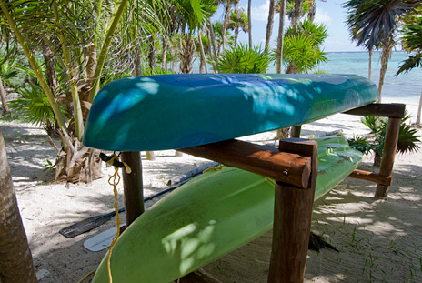 Sea kayaks are provided for guests at  Casa Yamulkan vacation rental villa on Soliman Bay