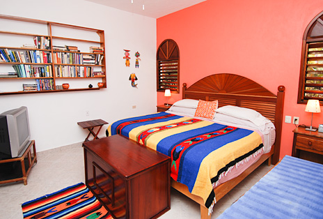 Second bedroom at Nah Yaxche vacation beach rental bungalow on Soliman Bay