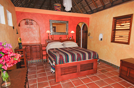 Bedroom  at Nah Yaxche vacation rental beach bungalow on Soliman Bay