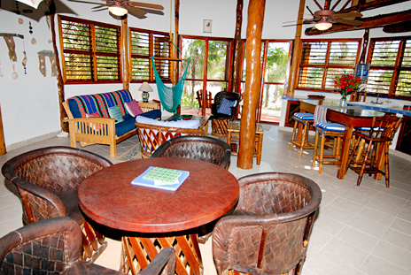 Dining table at Nah Yaxche vacation rental home on Soliman Bay