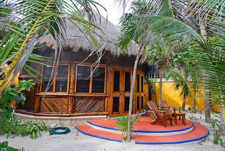 Exterior of Nah Yaxche vacation beach bungalow on Soliman Bay, Riviera Maya, Mexico